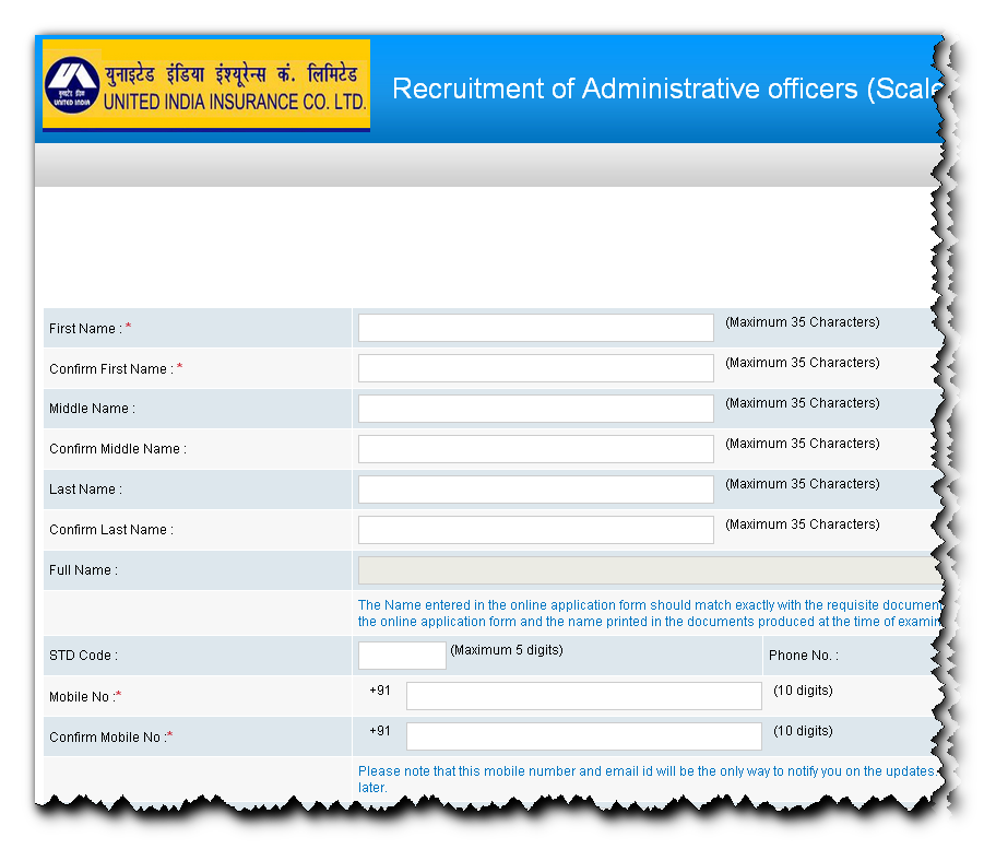 United India Insurance Admin Officer Recruitment 2014 Online form