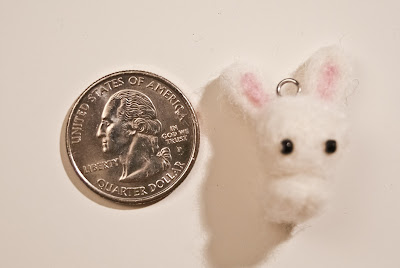 Needle Felted Rabbit Keychain