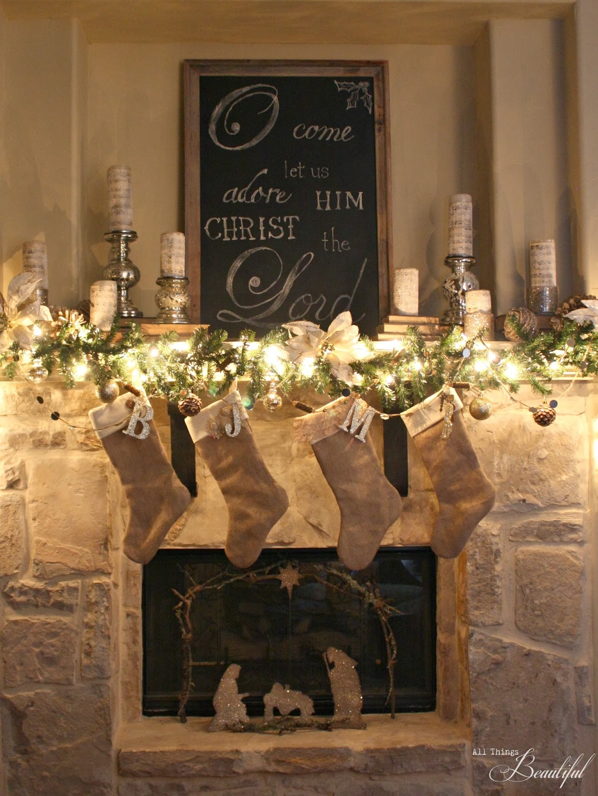 All things beautiful christmas home tour handmade for Christmas mantel design ideas
