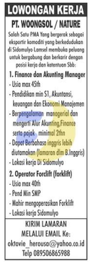Karir Kerja Lampung PT. Woongsol / Nature, Lowongan Kerja Lampung, Jumat 13 Februari 2015