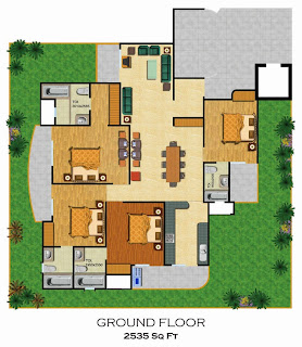 Emerald Court :: Floor Plans,Aspire / Bluestone 2:-Ground Floor4 Bedrooms, 4 Toilets, Kitchen, Dining, Drawing, 4 Balconies, Private Lawn Area - 2535 Sq. Ft.