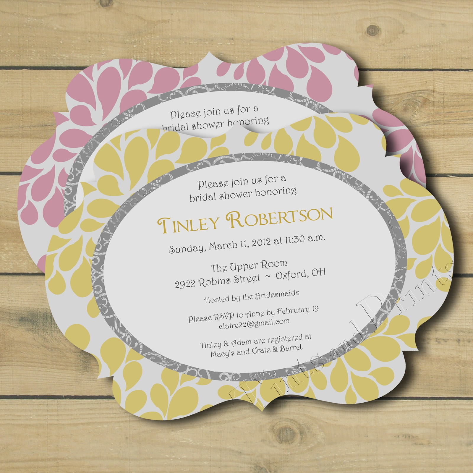 vintage grey yellow bridal shower theme