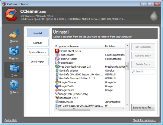 ����� ������ ����� ���� ��������� �� ������ ������� �������� CCleaner 5.14.5493