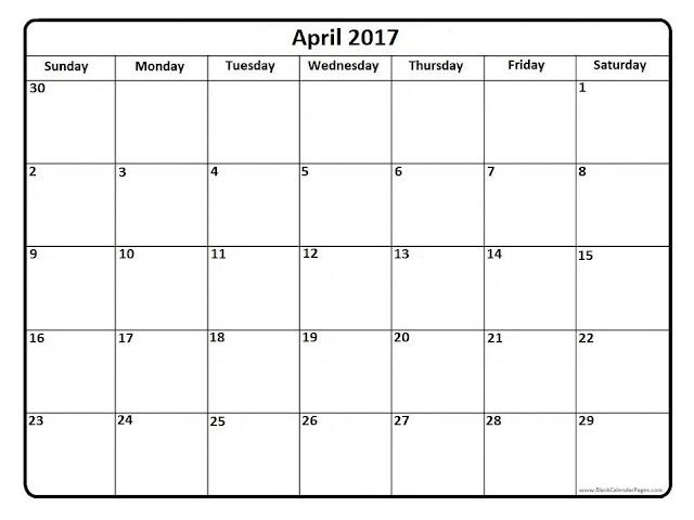 April 2017 Calendar   Printable Blank Templates - Printable ...