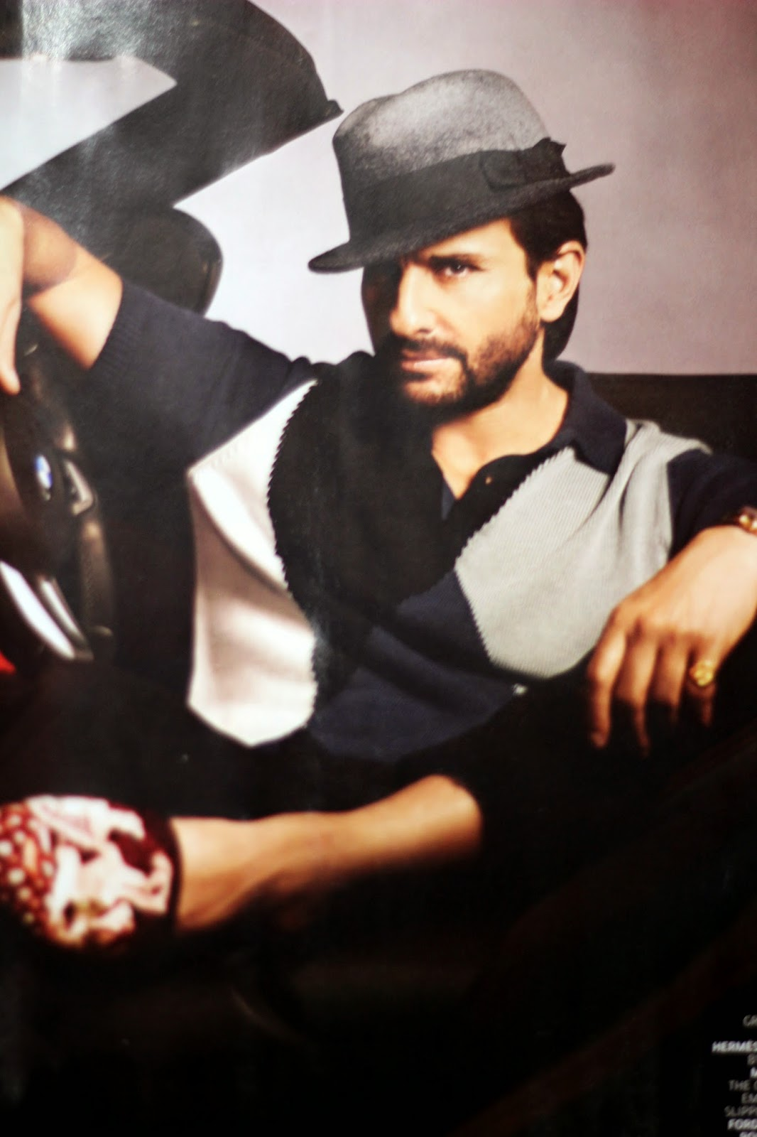 Saif Ali Khan in Double Breasted White Suit Covers GQ India June 2014