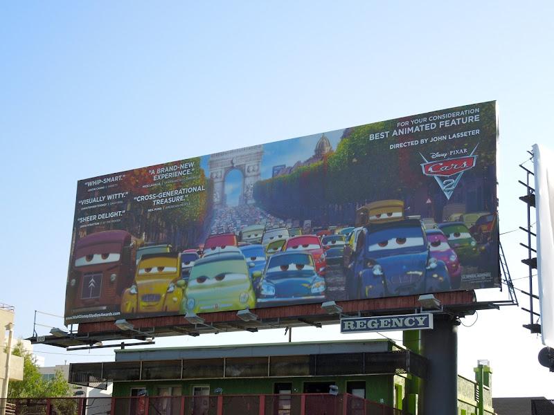 Cars 2 Oscar consideration billboard