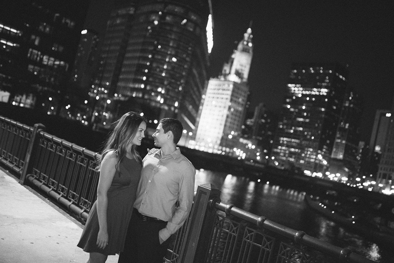 Chicago Downtown Night Engagement Photo