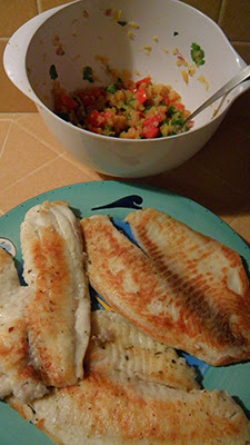 Plate of fish and Bowl of salsa