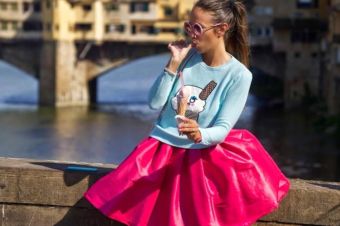look azzurro + rosa