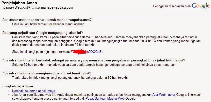 contoh laman diagnostik untuk panduan cek blog