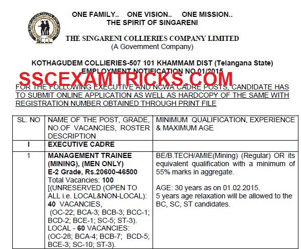 SCCL VACANCIES DETAILS