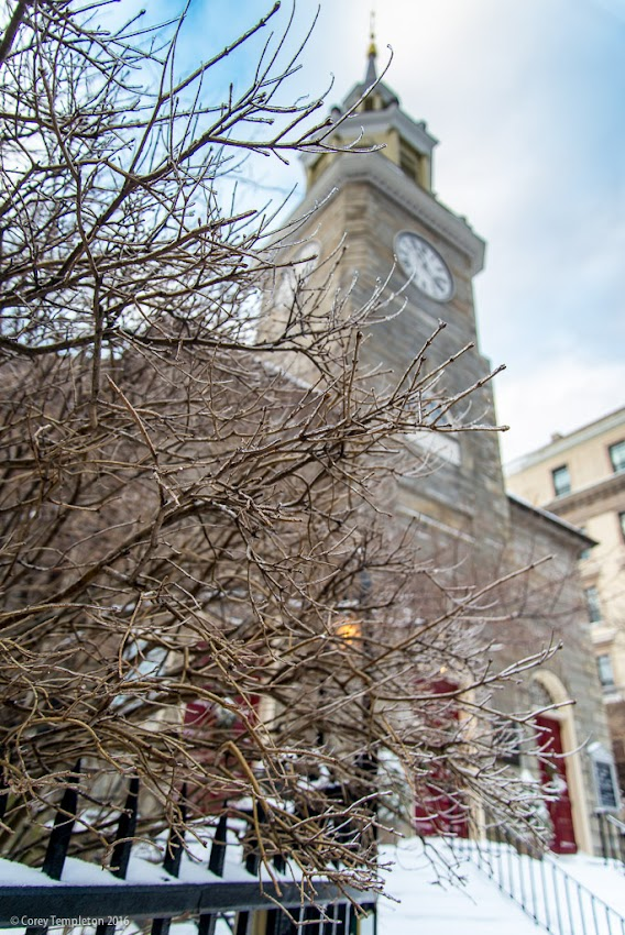 Portland, Maine USA January 2016 Icy Branches and Church Steeple of the First Parish Church 425 Congress Street. Photo by Corey Templeton.