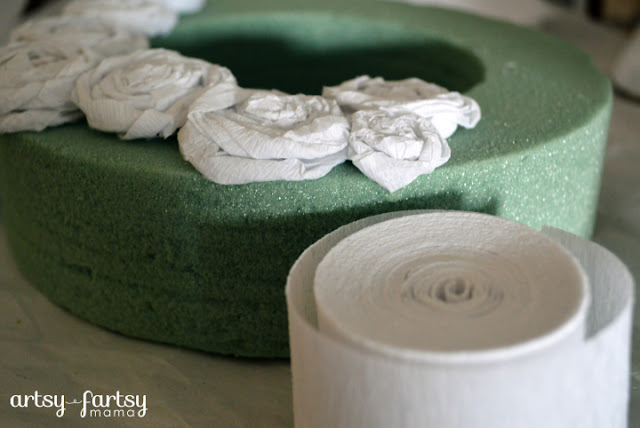 Crepe Paper Rosette Wreath Supplies at artsyfartsymama.com #wreath