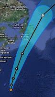 Tropensturm LESLIE bei Bermuda trifft wahrscheinlich als Hurrikan auf Neufundland, Leslie, aktuell, Bermudas, Satellitenbild Satellitenbilder, Radar Doppler Radar, Neufundland, Vorhersage Forecast Prognose, Atlantische Hurrikansaison, Hurrikansaison 2012, September, 2012,