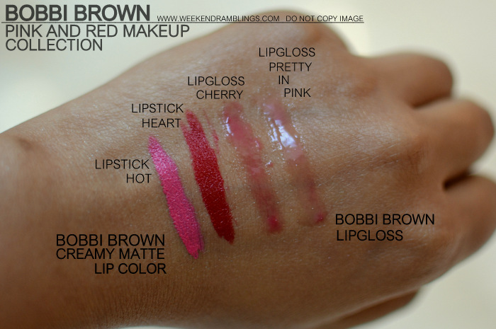 Bobbi Brown Pink Red Makeup Collection Indian Beauty Blog Swatches Creamy Matte Lipstick Color Heart Hot Lipgloss Pretty in Pink Cherry