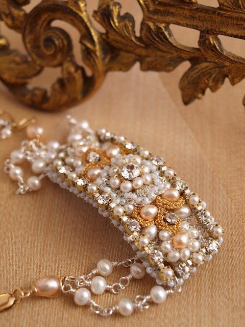 custom bridal cuff bracelet with silver lace, peach pearls