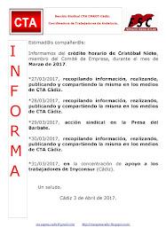 C.T.A. INFORMA CRÉDITO HORARIO CRISTOBAL NIETO, MARZO 2017