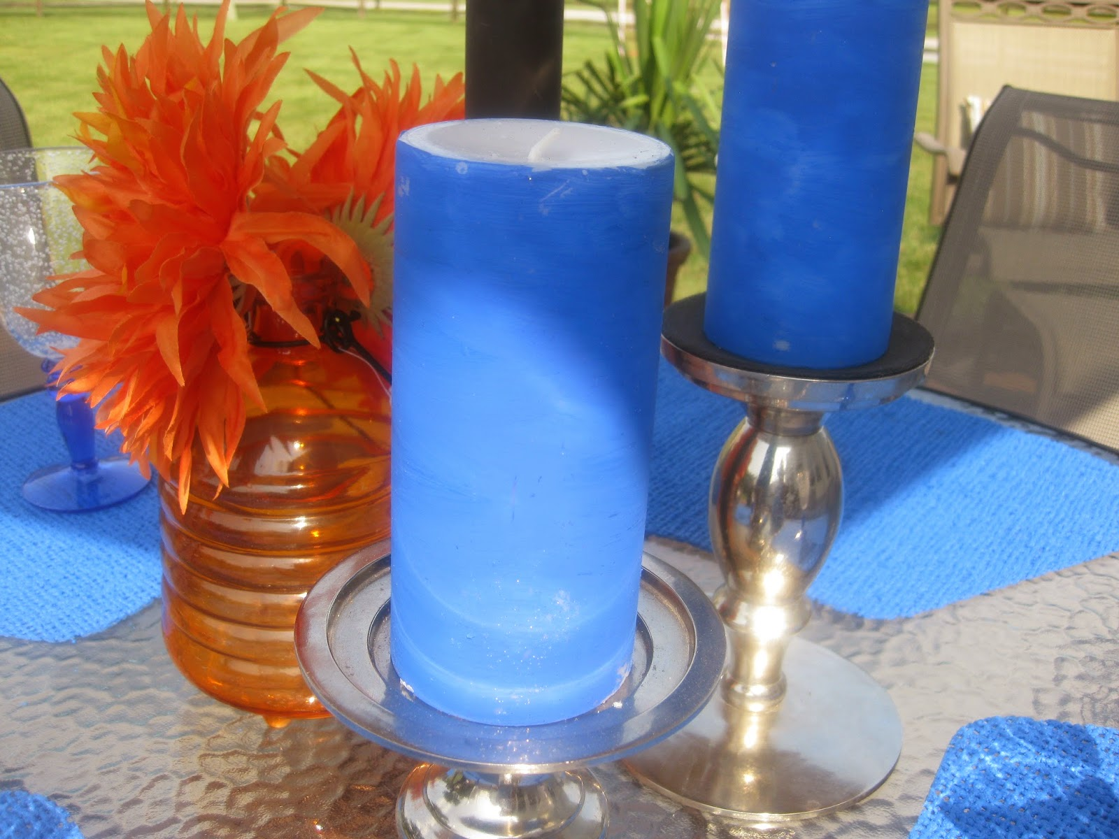 Patio table decor - painted candles