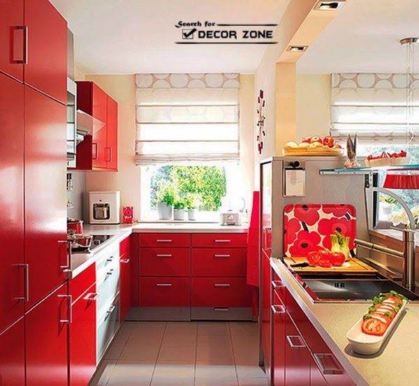 Red kitchen cabinets 15 ideas and designs for Red wall kitchen ideas