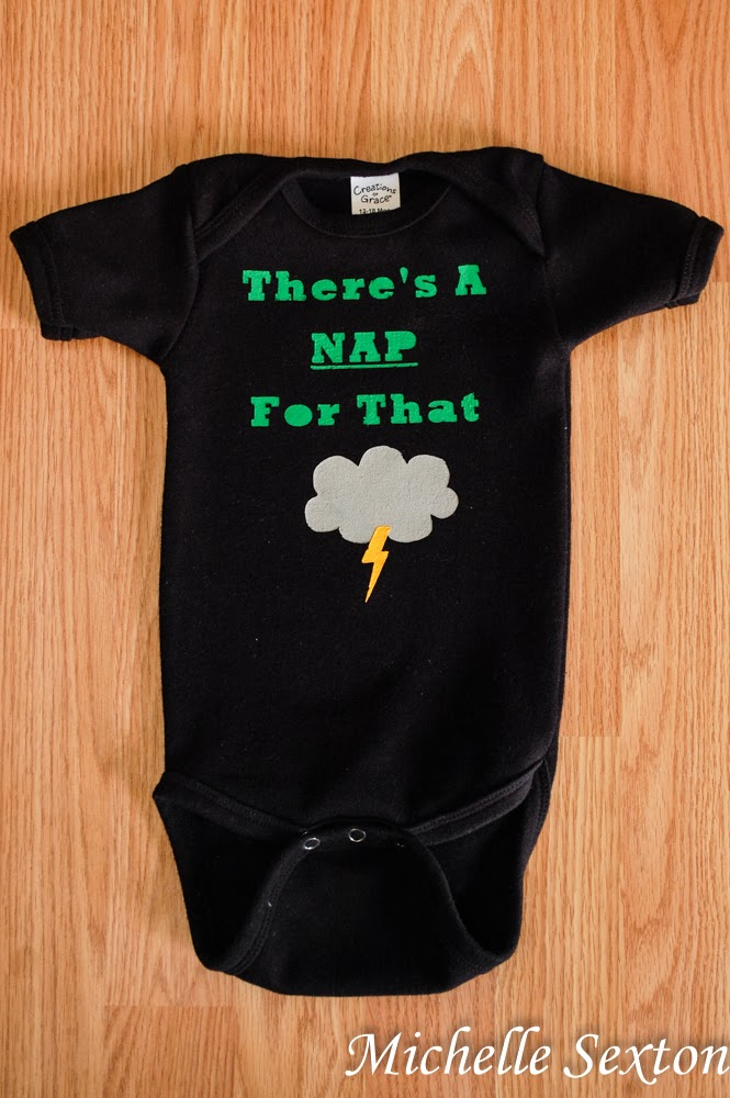 There's A NAP For That - decorate a onesie. This tutorial also provides the Free file to download to create this with a Silhouette as well as a PDF to create it by hand!