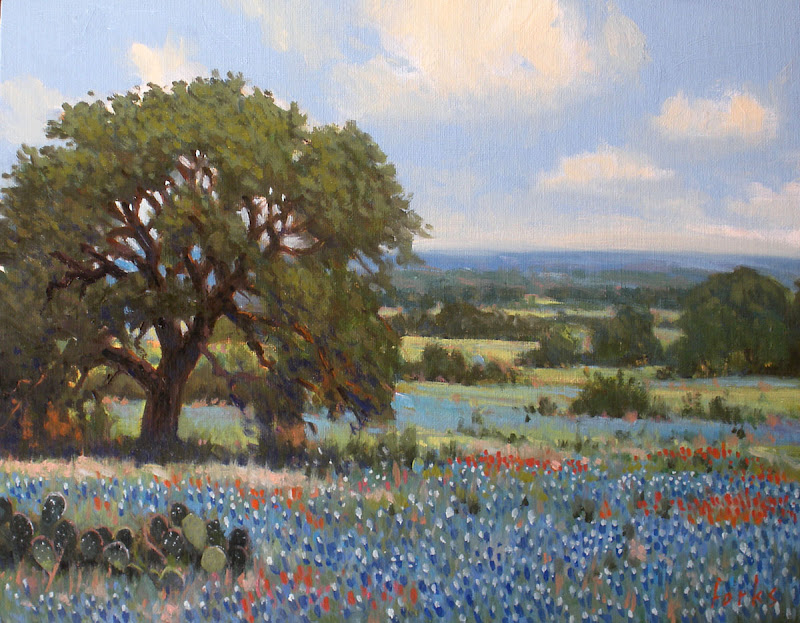 Bluebonnets Texas Hill Country Painting