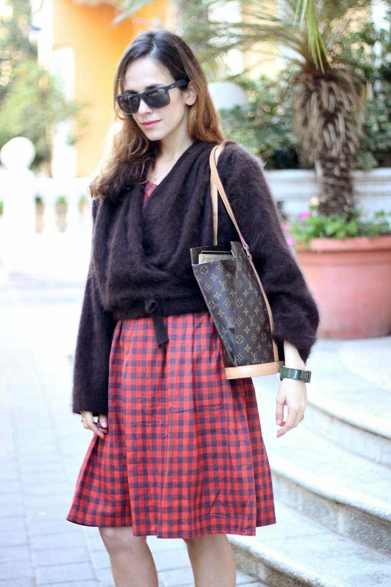 oversized dress, telavivstreetstyle,checkprint, iconic, vintage, fashionable, street-style, בלוג-אופנה, אופנה, GO-STYLE, LV