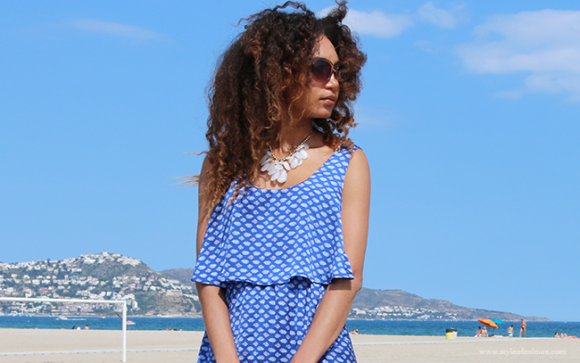 Casually styling a blue print dress