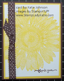 Stampin'UP! Sunflower Background Stamp and Dotted Scallop Ribbon