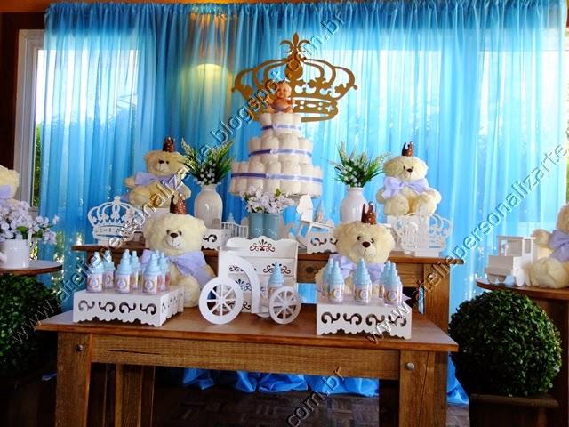 decoração chá bebê ursinhos príncipes rustico
