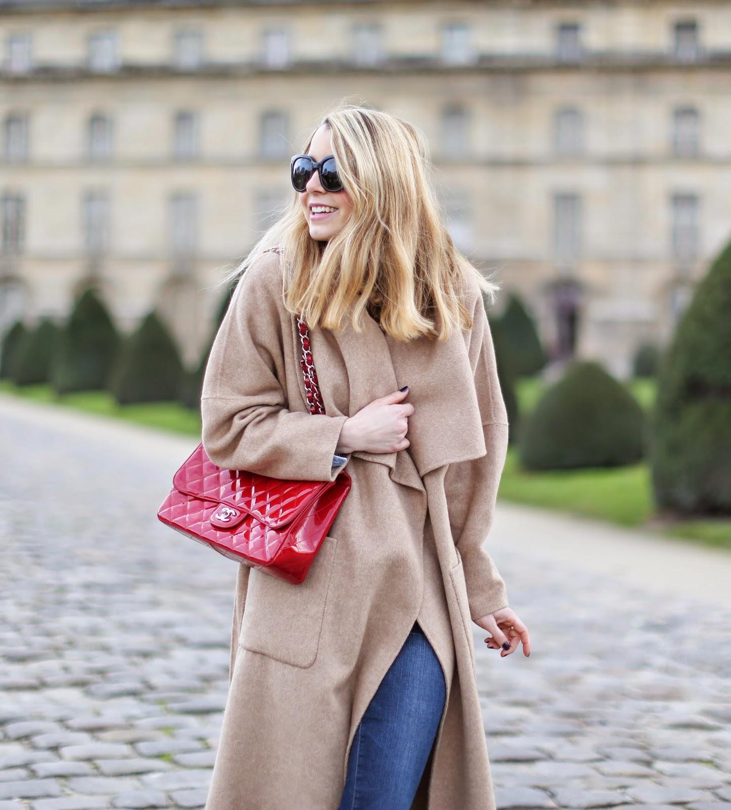 denim on denim, camel coat, zara, topshop, chanel, frame denim, python heels, streetstyle, fashion blogger, paris