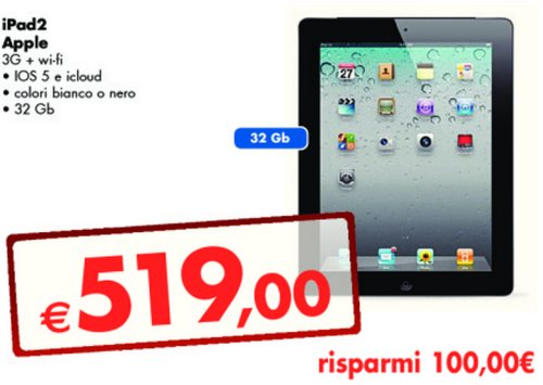 Ipad 2 3G + Wifi 32GB scontato da Panorama di 100 euro