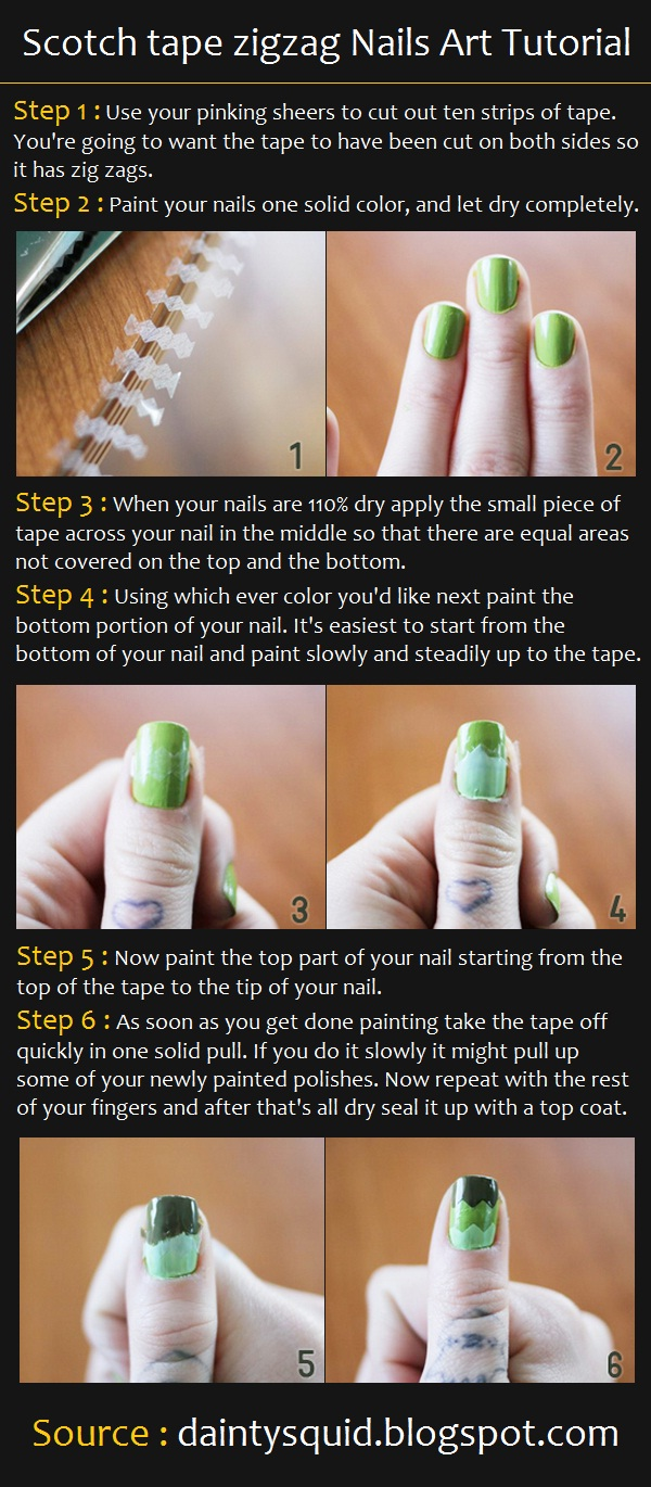 Scotch tape zigzag Nails Art Tutorial | Pinterest Tutorials