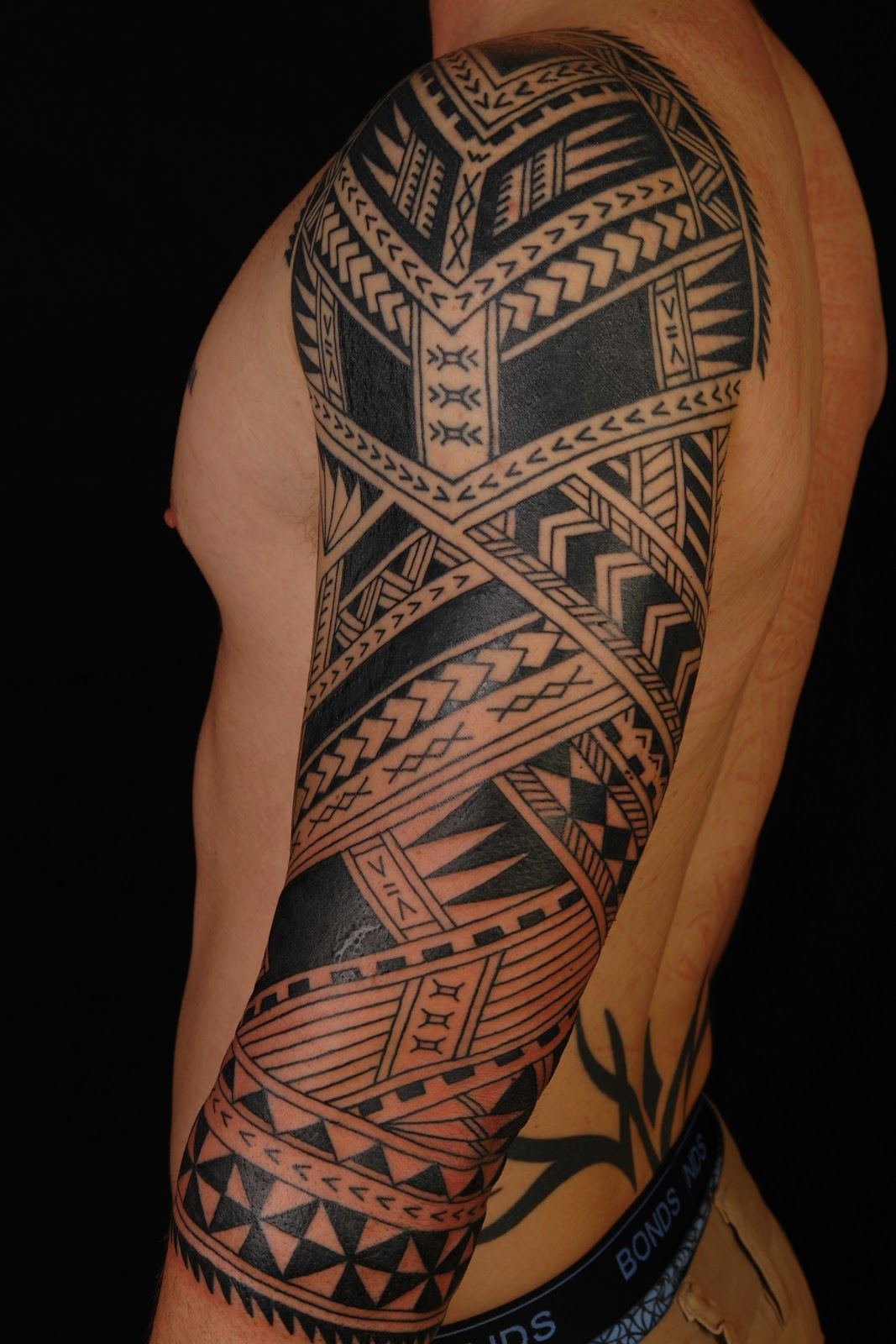 Polynesian 3/4 Sleeve on Cameron. Will be continuing onto chest. Check ...
