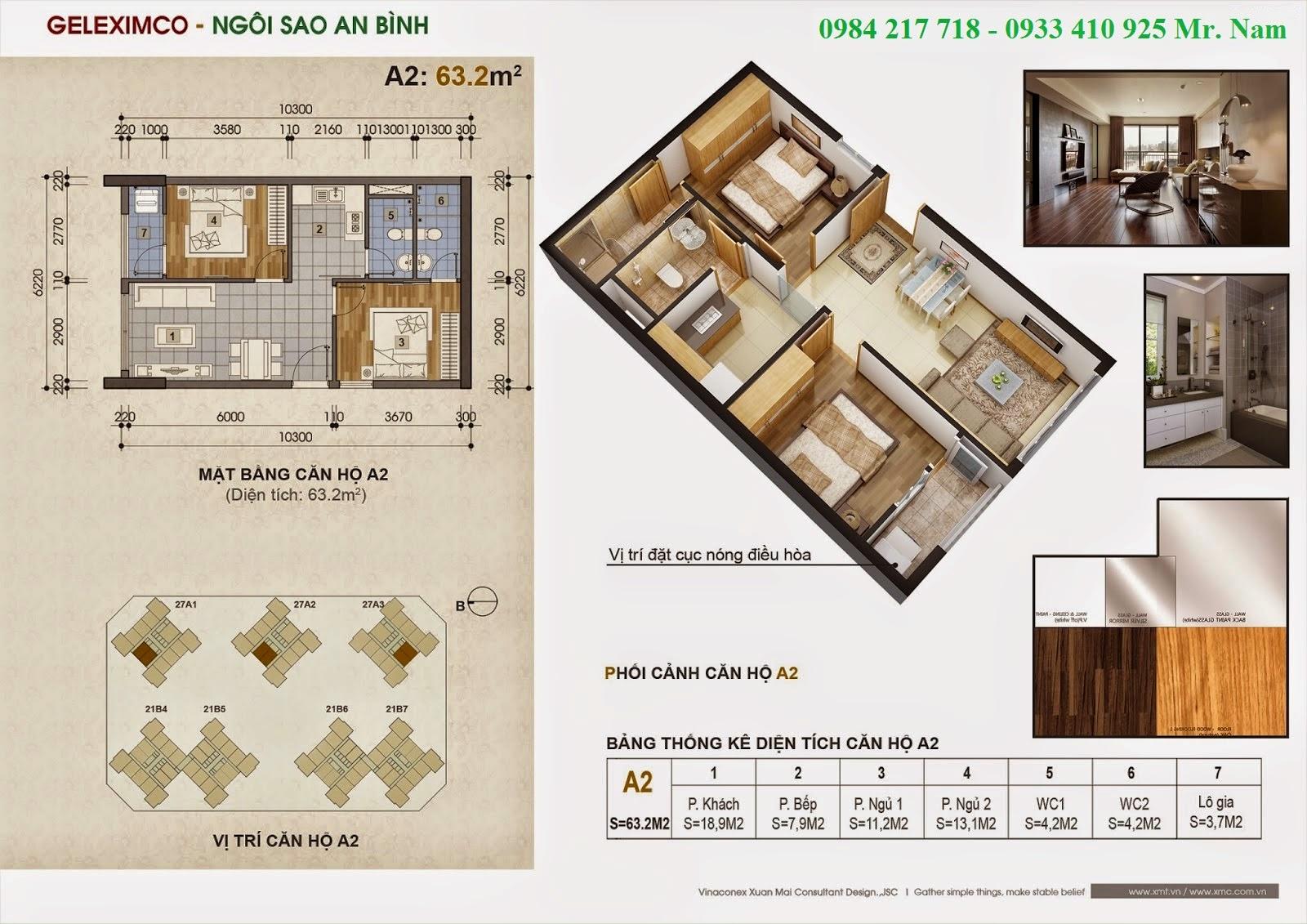 Thiết kế căn hộ A2 diện tích 63.2 m2 chung cư Green Stars