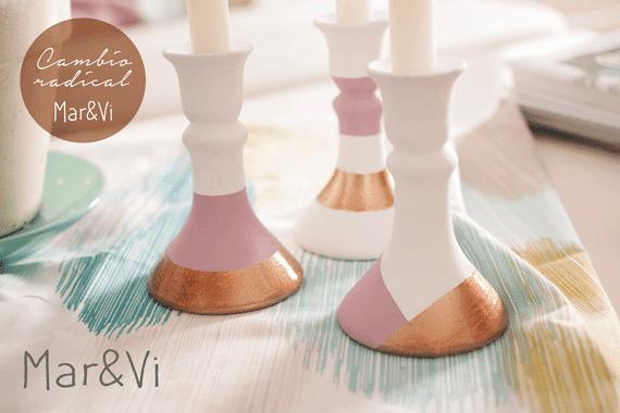 renovar candelabros de cerámica con pintura