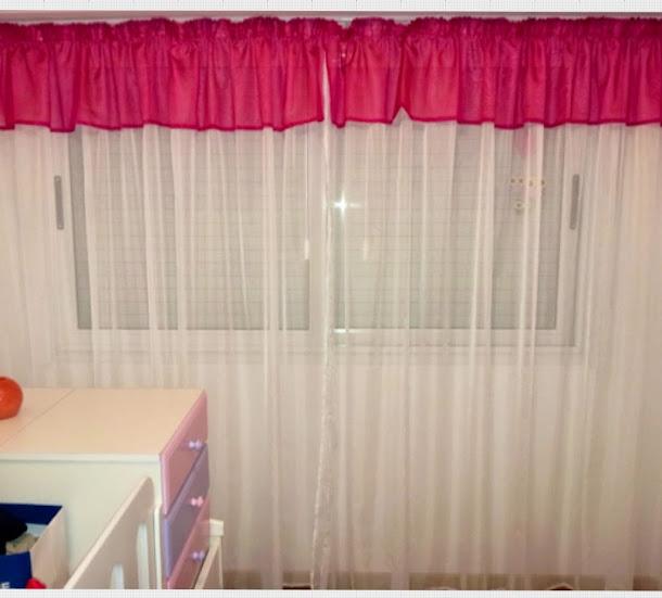 cortina de tela voile con faldon