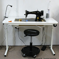 vintage 15-91 Singer sewing machine in a table