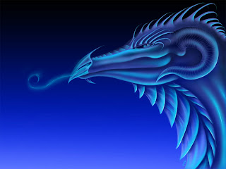 Friske Blue Dragon Dark Gothic Wallpaper