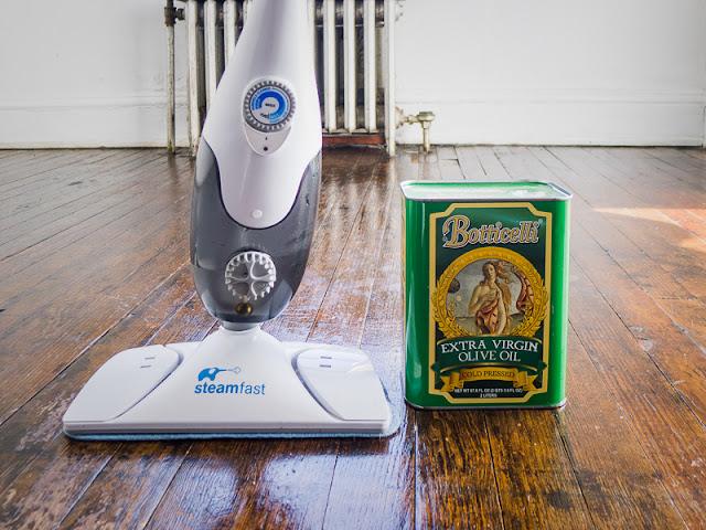 steam mop, olive oil on hard wood floor, polish hardwood floor naturally, natural products, mopping floor, earthy sheen on hardwood floor,