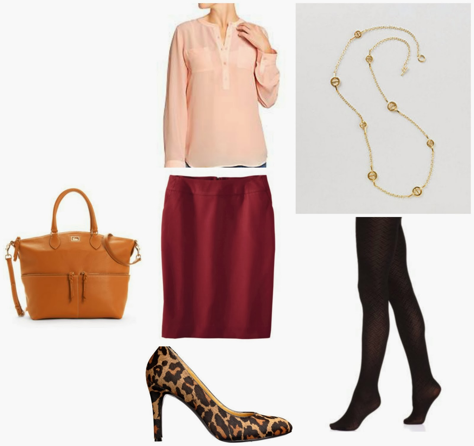 Burgundy pencil skirt, hue tights, leopard pumps Caress, Nine West, Crossbody Satchel