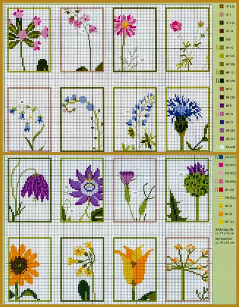 Вышивка полевых цветов схема фото