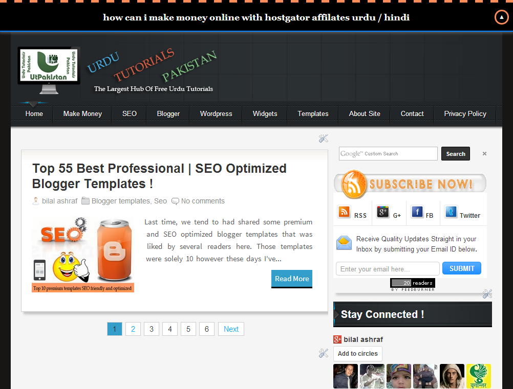 Beautiful ( UTPAKISTAN ) Style SEO Friendly Premium Blogger Template Free
