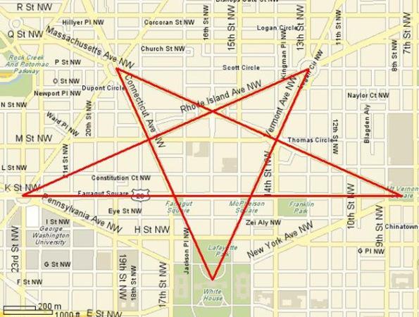 Pentagrama de las calles de Washington