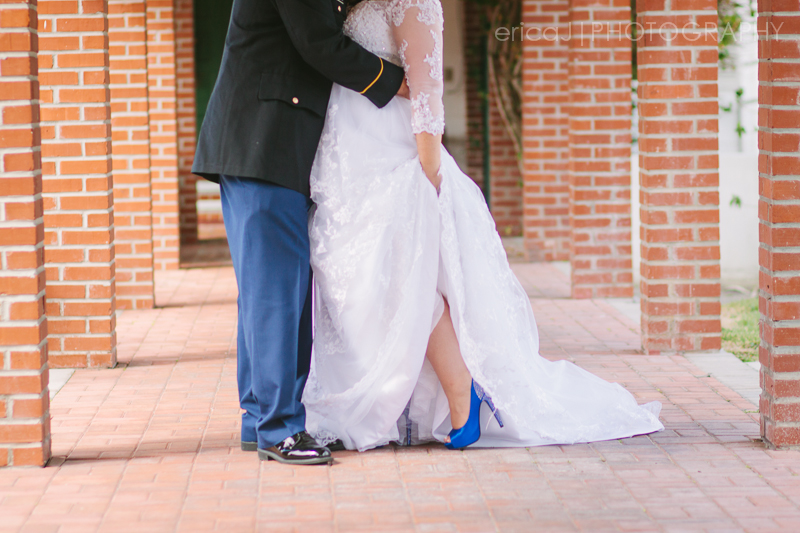 army dress blues groom bride with steve madden blue shoes south florida wedding