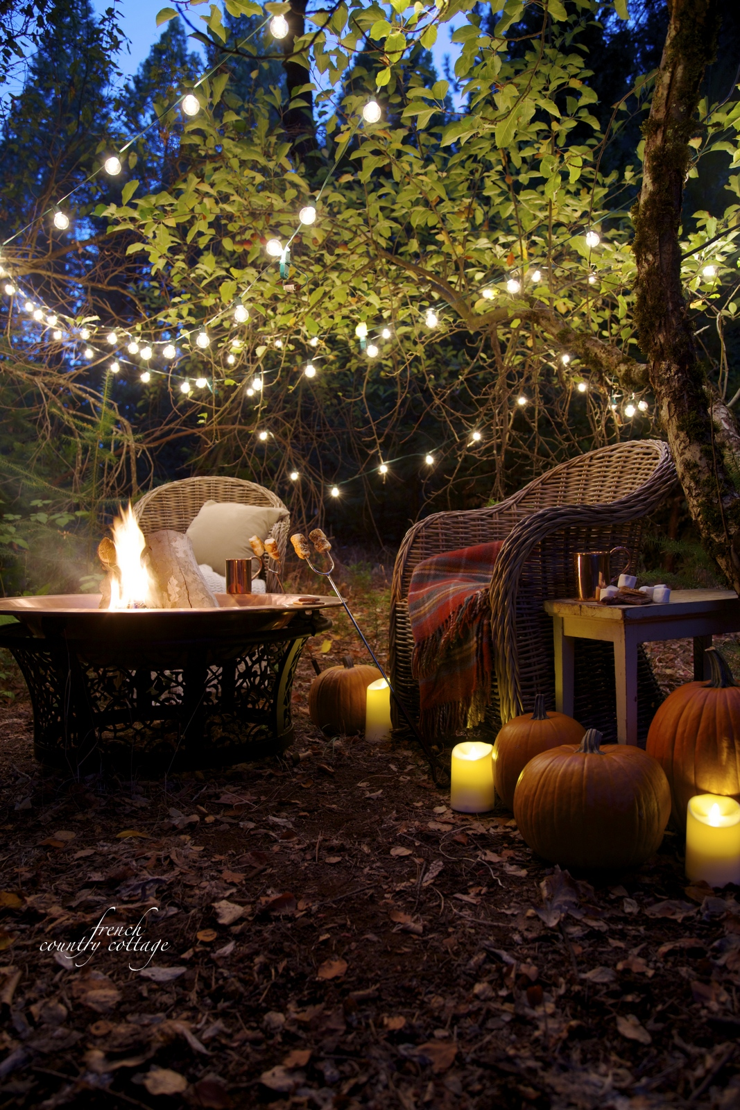 Autumn Night Fire Pit : An autumn evening in the orchard french country cottage