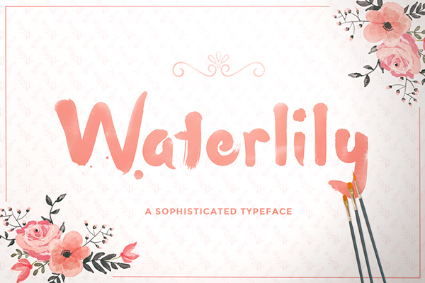 download waterlily free brush font