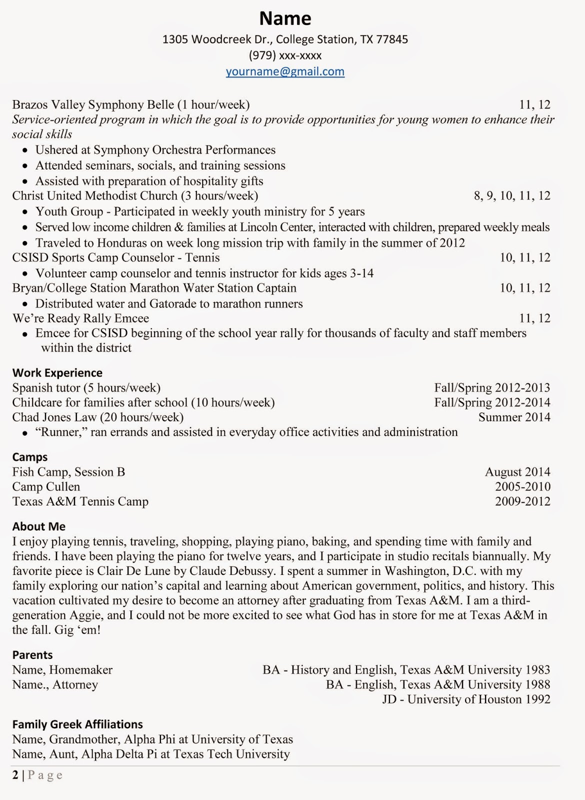 resume sample summer camp schedule cover letter film
