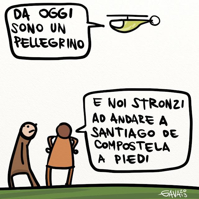 papa vignetta satira gava gavavenezia caricature ridere elicottero dimissioni santiago de compostela stronzo merda fede cazzo figa tette