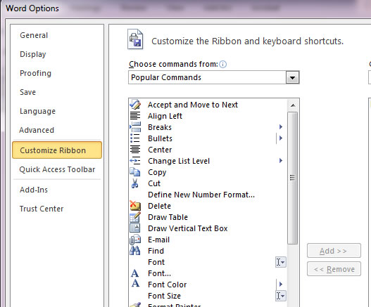 office 2010 ribbon. Office 2010 lets you customize the ribbon in all application including Word