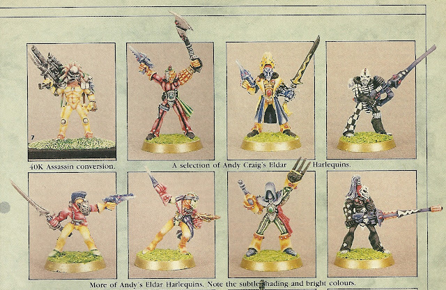Andy's first White Dwarf spread- Eldar Harlequins.